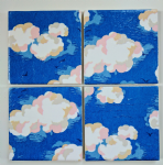 4 Ceramic Coasters in Cath Kidston Clouds